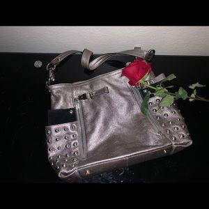 B Makowsky grey leather purse